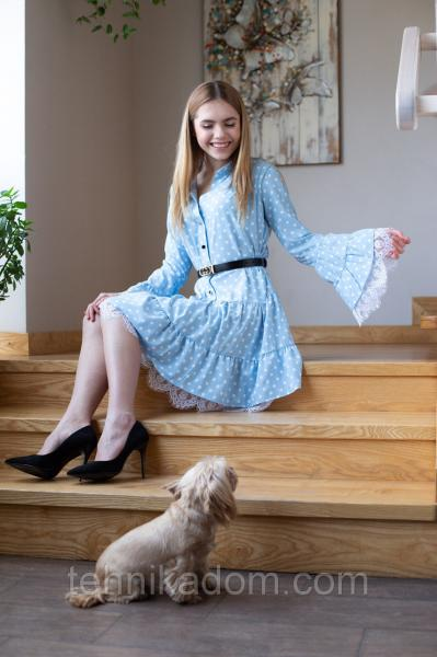 Платье Бланси 0470_4 голубое в горошек