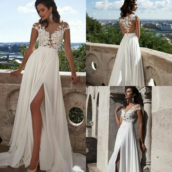 Непышное свадебное платье с разрезом Ариадна