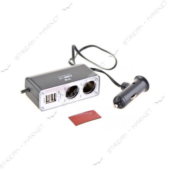 Разветвитель прикуривателя PULSO WF-0030 2 выхода плюс 2 USB 1000 mA /предохранитель