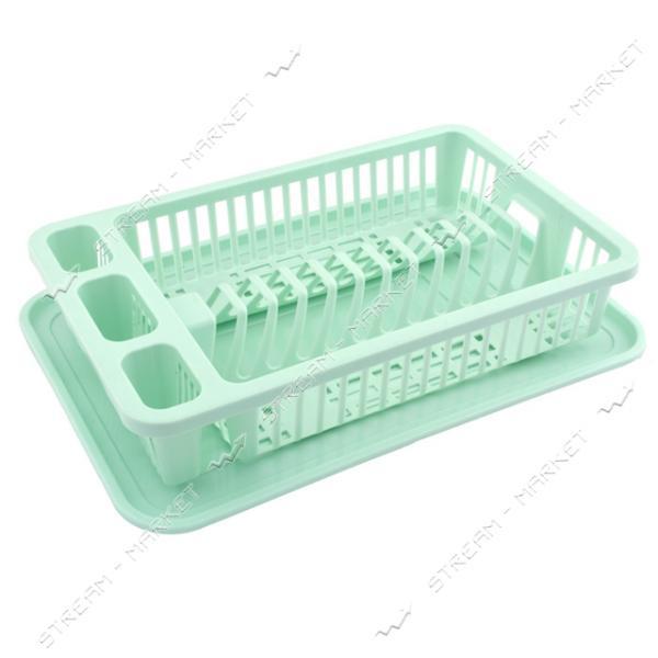 Сушка пластиковая для посуды Efe Plastics 1 ярус 36х22х8см зеленая