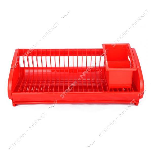 Сушка пластиковая для посуды и ложек Lamela 1 ярусная 475х220х200мм красная