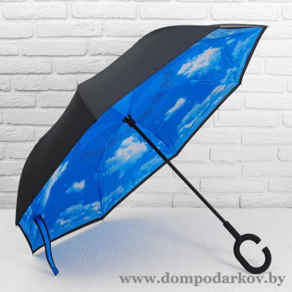 Фото Галантерея, Зонты, Зонты женские Зонт - наоборот «Небо», механический, 8 спиц, R = 56 см, цвет голубой/чёрный