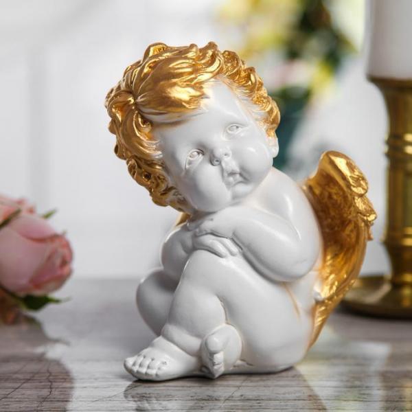 """Сувенир """"Ангел сидячий"""" средний, белый с золотом"""