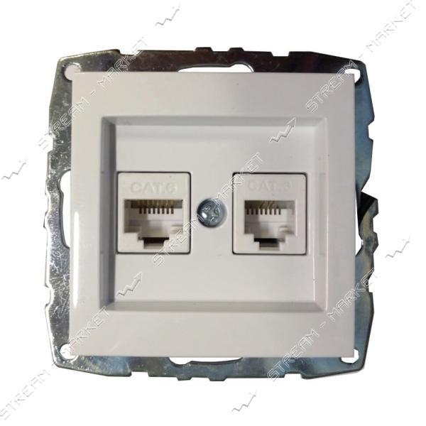 MONO ELECTRIC 500-001905-132 L/D МЕХАНИЗМ Розетка комт тел.цифр (RJ45 САТ6, RJ11 САТ3 белая