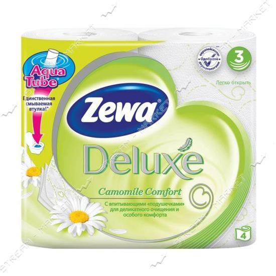 Туалетная бумага Zewa Deluxe Ромашка 3 слоя 4 шт