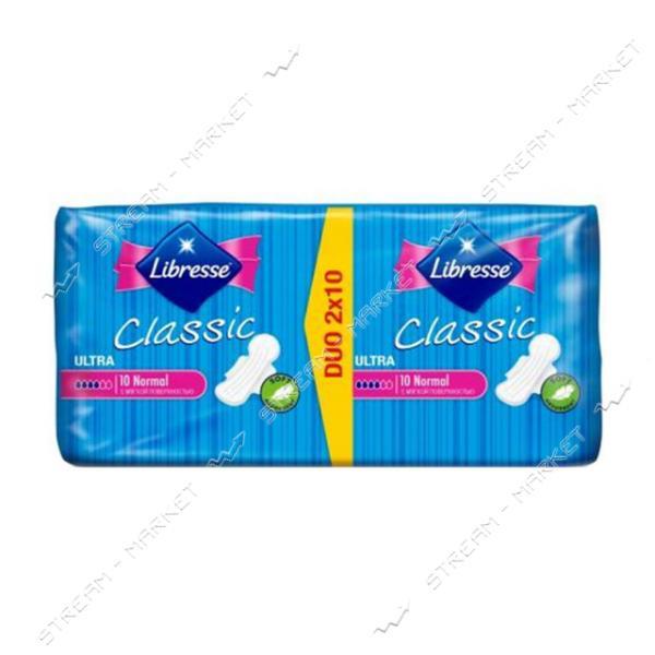 Libresse Прокладки гигиенические Classic Ultra Clip Normal Duo Soft 4капли 20шт