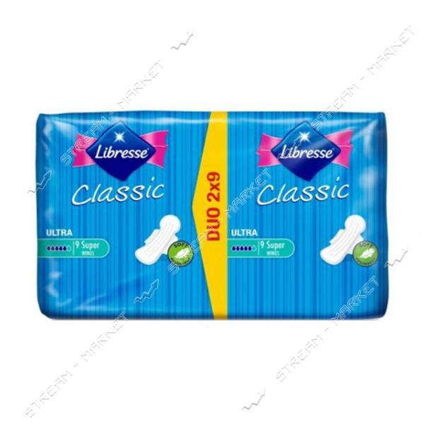 Libresse Прокладки гигиенические Classic Ultra Clip Super Duo Soft 5капель 18шт