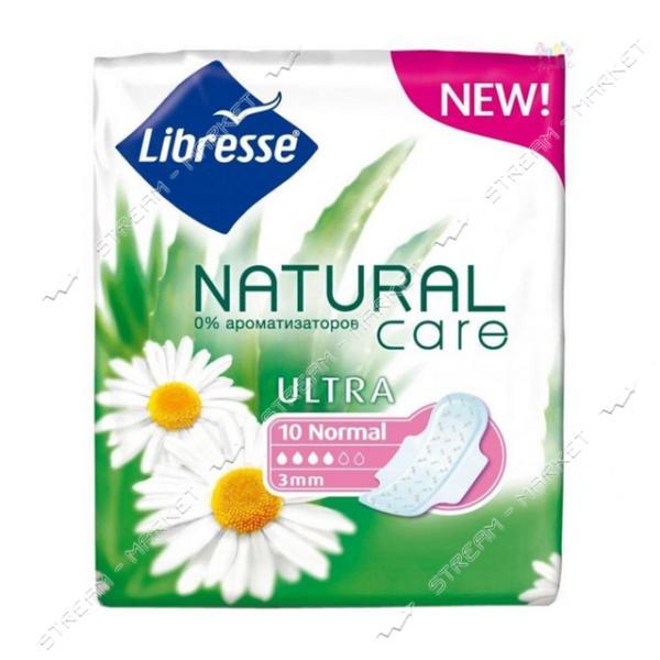 Libresse Прокладки гигиенические Natural Care Ultra Clip Normal 4капли 10шт