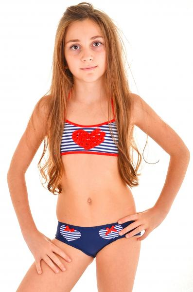 Полосатый купальник топ для девочки Della Esmeralda 98 Синий Della Esmeralda