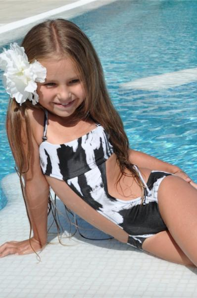 Черно-белый детский купальник BAEL Гепард 5509 146 Черно-Белый BAEL 5509