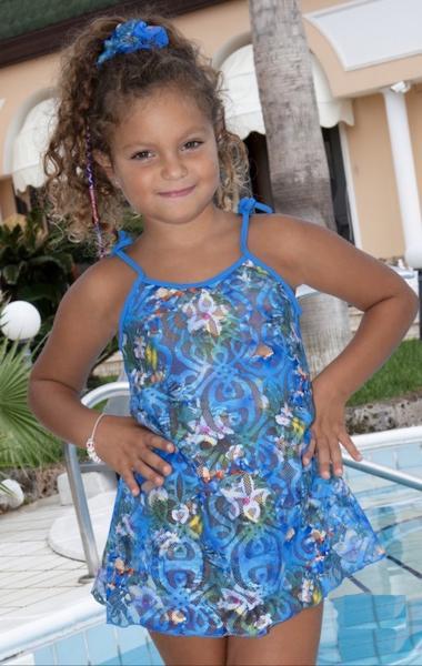 Детский сарафан из гипюра Amarea 17908 134 Голубой Amarea 17908