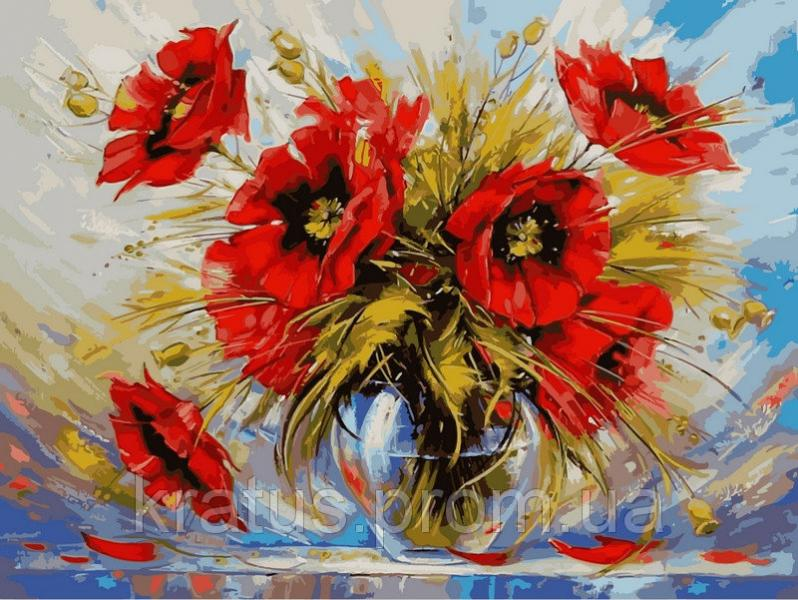 """VK 025 """"Маки в стеклянной вазе""""  40x30см"""