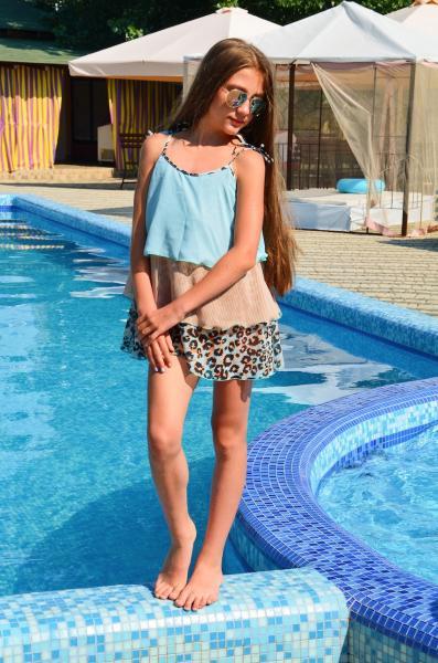 Сарафан пляжный для девочки Amarea 18907 146 Голубой Amarea 18907