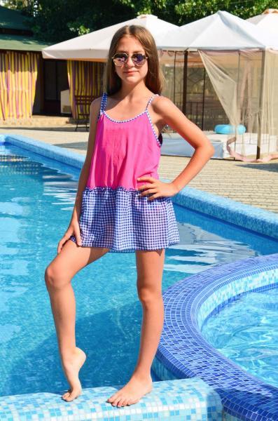 Пляжный сарафан для девочки Amarea 18922 122 Сине-голубой Amarea 18922
