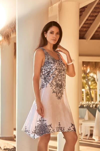 Короткое пляжное платье с рисунком David DB9-031 44(M) Синий-Белый David DB9-031