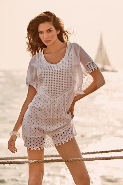 Белое пляжное платье мини с вышивкой Iconique IC9-022 42(S) Белый Iconique IC9-022