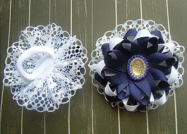 Фото Готовые изделия хенд мейд, Резинки хенд мейд Резинки для волос сине -белые звёздочки,пара