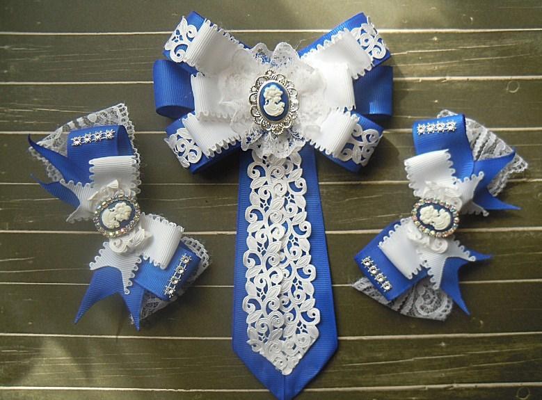 Набор галстук- брошь и 2 заколки сине белые