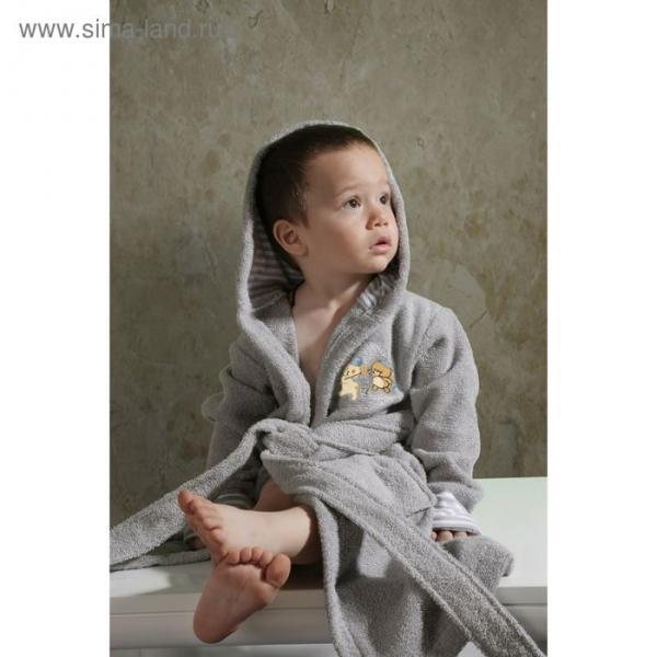 Халат детский махровый с капюшоном Teeny, 2-3 года, цвет серый 912/5