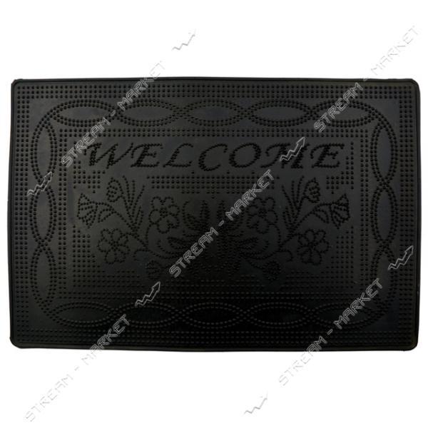 Коврик входной резиновый Welcome 40х60см черный