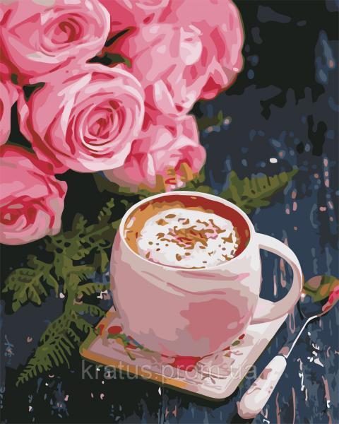 AS 0668 Розы и латте Картина по номерам на холсте ART STORY 40x50см