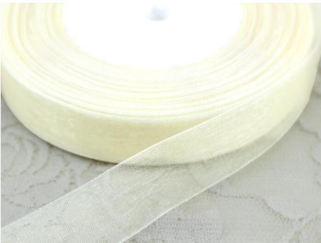 Фото Ленты, Лента органза однотонная Лента Органза кремового цвета 2,5 см