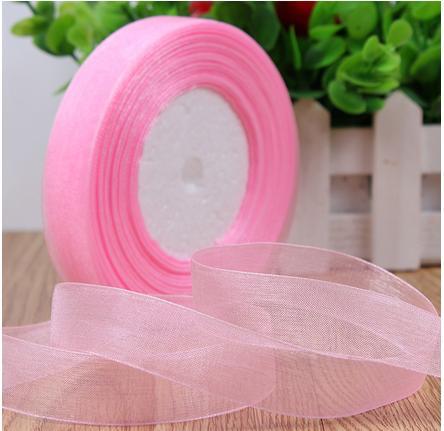 Лента Органза розовый  цвет 2,5 см