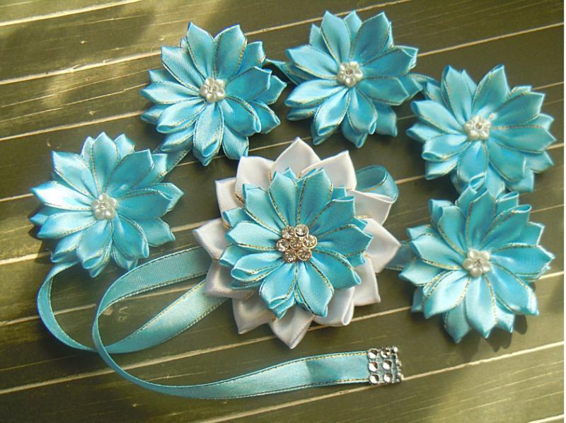 Фото Готовые изделия хенд мейд, Лента в косу Лента в косу атласная бело-голубая