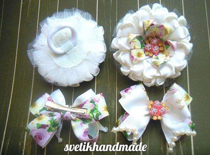 Фото Готовые изделия хенд мейд, Броши,галстуки,наборы Нобор белый  2 резинки ,2 заколки