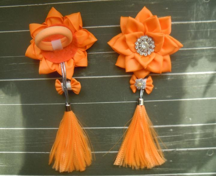 Фото Готовые изделия хенд мейд, Резинки хенд мейд Резинки оранжевые с кисточками из репсовой ленты,пара