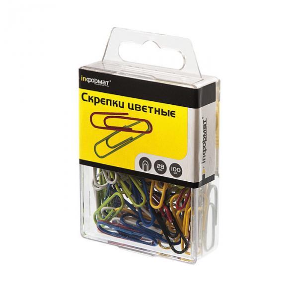 Скрепки inФОРМАТ 28 мм 100 шт цветные, картонная упаковка