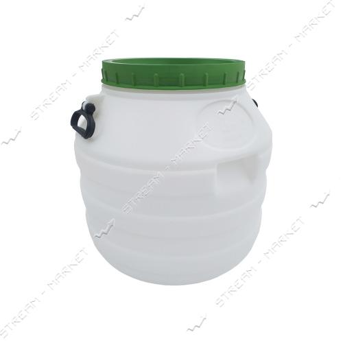 Бочка пищевая Пласт Бак пластиковая с пластиковыми ручками белая 48 л
