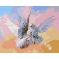 Фото Картины на холсте по номерам, Животные. Птицы. Рыбы... MS 007  Голуби Роспись по номерам на холсте 40х50см