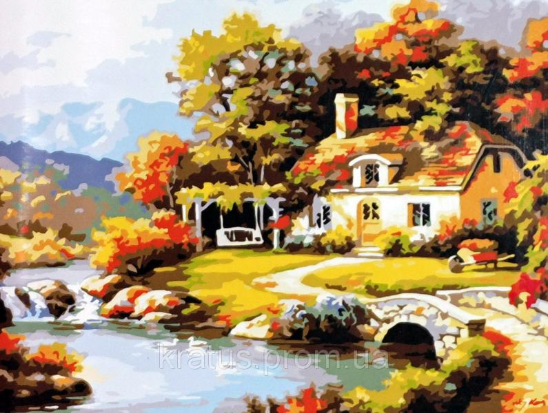 """MS 612 """"Уютный дом у реки"""" Роспись по номерам на холсте. 40х50см"""