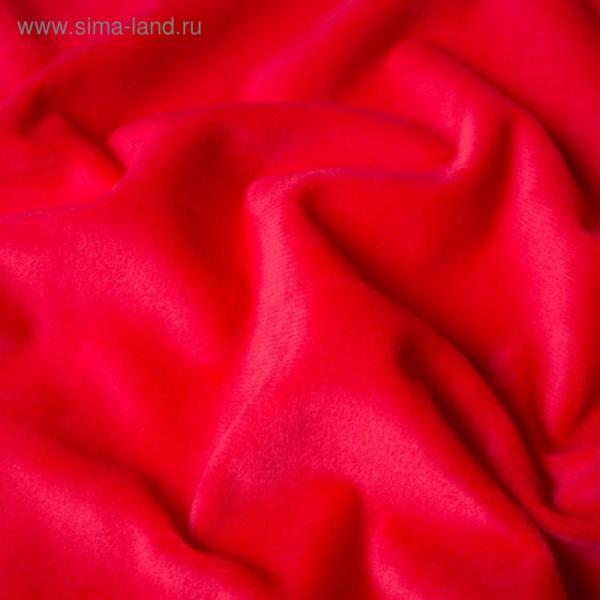 Трикотаж костюмный, велюр-вельбоа, ширина 150 см, красный
