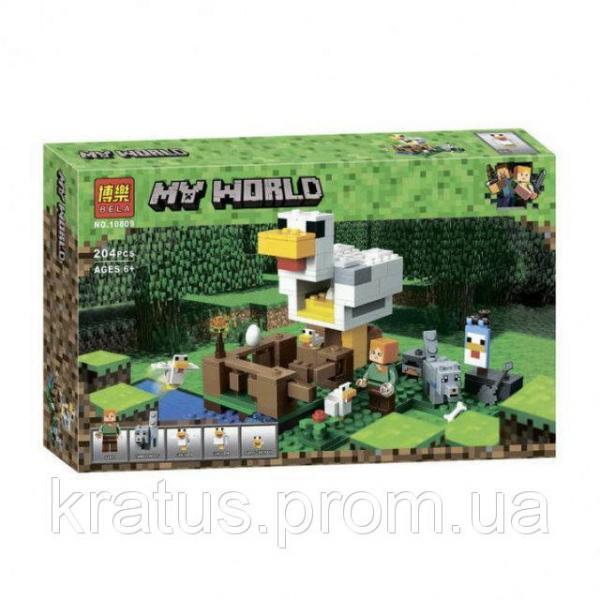 "10809 Конструктор Bela ""Курятник"" (аналог Lego Майнкрафт, Minecraft 21140), 204 детали"