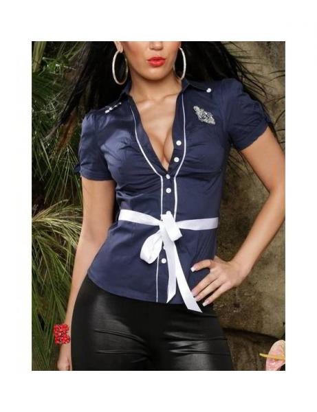Фото Женские блузы Блуза Морячка р44 синяя