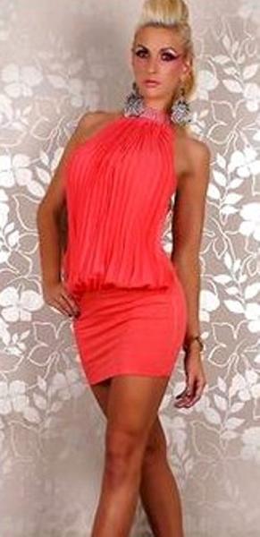 Платье Гофре р44 красное