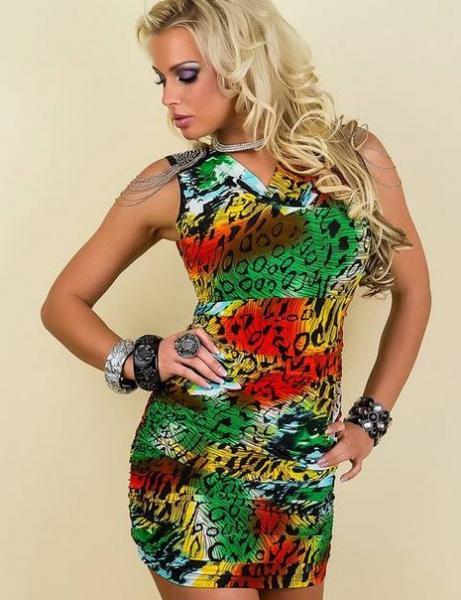 Платье с погонами р44 разноцветное