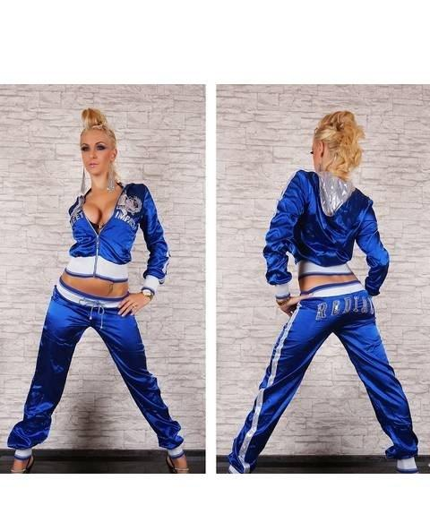 Фото Женские спортивные костюмы Спортивный костюм атлас р44 синий
