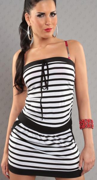 Фото Женские платья Платье в полоску р44 черно-белое