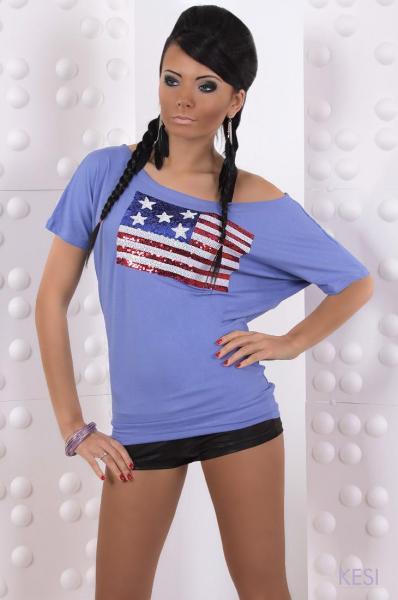 Фото Женские футболки Футболка Флаг пайетки р44 фиолетовая
