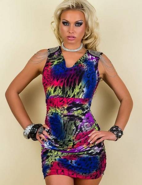 Фото Женские платья Платье с погонами р42 разноцветный