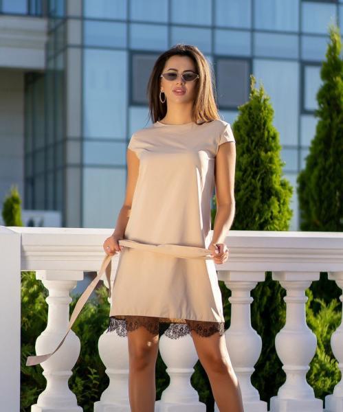Платье с кружевом GF0970 р46 капучино