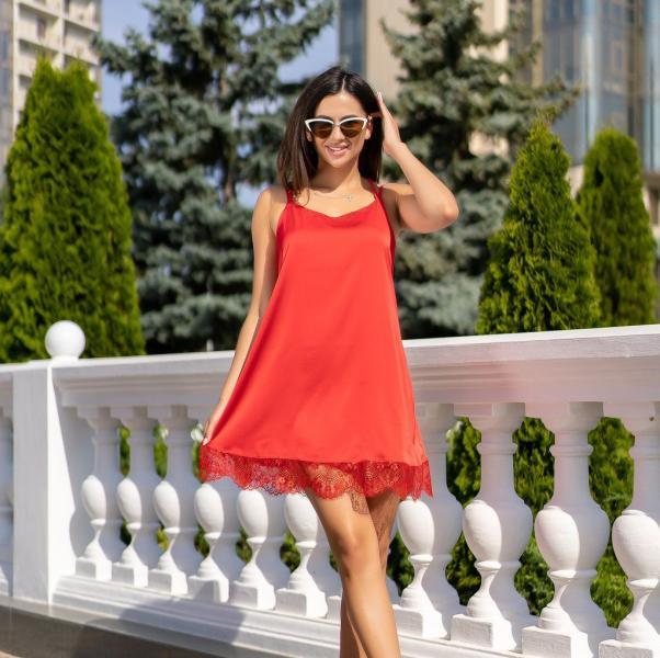 Фото Женские сарафаны Сарафан с кружевом GF0901 р44 красный