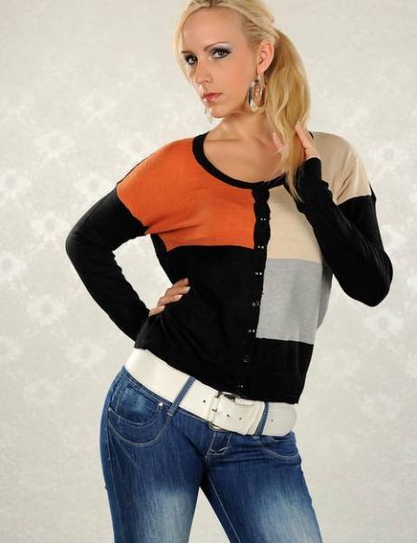 Фото Женские кофты, свитера и кардиганы Кофта на пуговицах р42 разноцветная