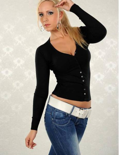 Фото Женские кофты, свитера и кардиганы Кофта на пуговицах р46 черная