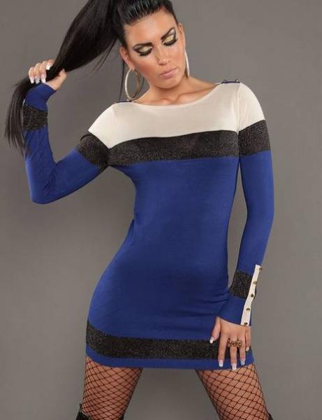 Фото Женские платья Платье с пуговичками р46 синее