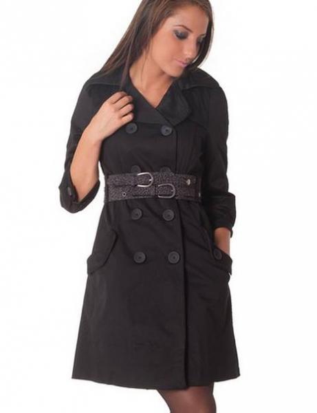 Пальто с поясом р46 черное