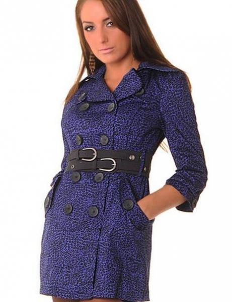 Пальто с поясом р44 фиолетовое